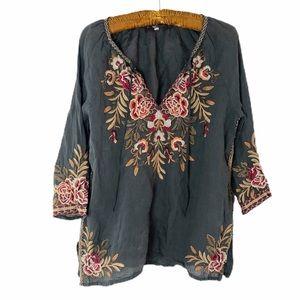 Johnny Was embroidered floral vneck  top